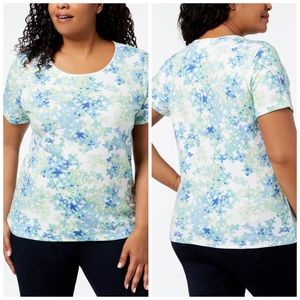 1X 2X 3X Floral Printed Short Sleeve T-Shirt Plus